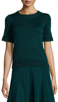 Andrew Gn Knit Short-Sleeve Sweater, Bottle Green