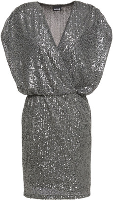 Just Cavalli Wrap-effect Sequined Tulle Mini Dress