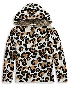 Aqua Girls' Leopard Sweater Hoodie - Big Kid