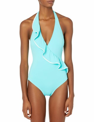 Carmen Marc Valvo Women's Surplus Halter one Piece Swimsuit with Ruffle