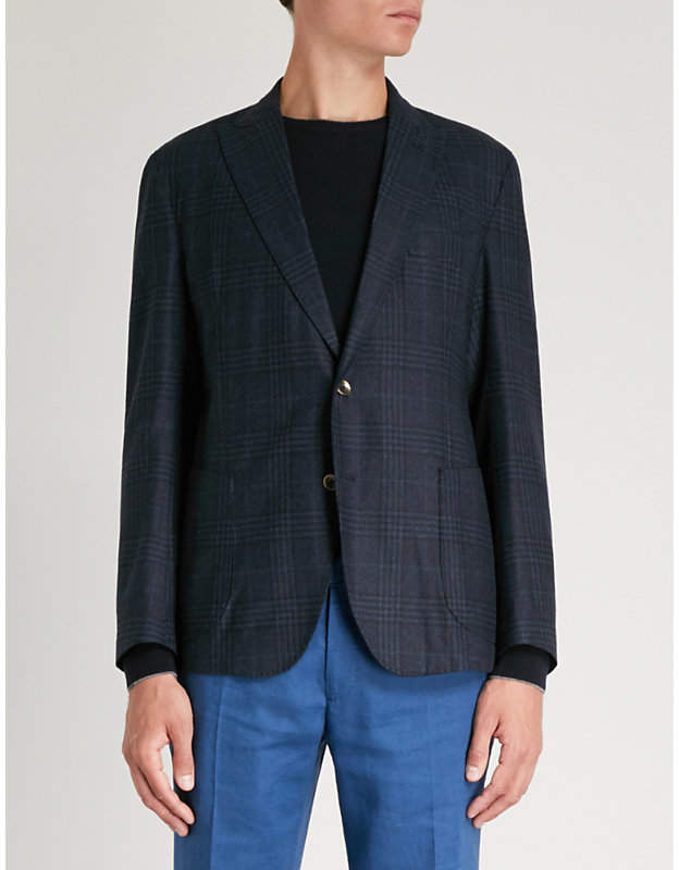 Eleventy Prince of Wales check wool jacket