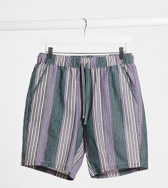 ASOS DESIGN Tall shorter shorts in washed purple stripe