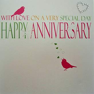 DAY Birger et Mikkelsen WHITE COTTON CARDS Code N43 Neon With Love On A Very Special HAPPY ANNIVERSARY Embellished Anniversary Card