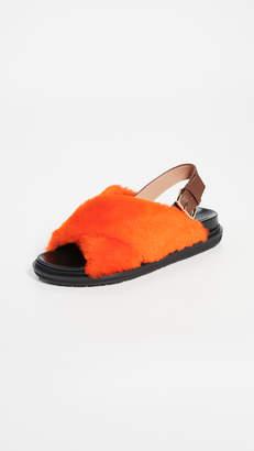 Marni Shearling Fussbett Sandals