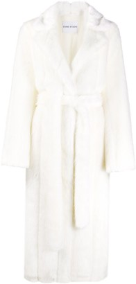 Stand Tie-Waist Faux Fur Trench Coat