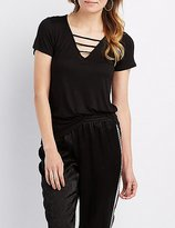 Charlotte Russe Caged Knotted Tee