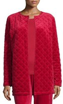 Neiman Marcus Quilted Velour Topper Jacket, Plus Size