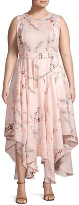 Calvin Klein Plus Sleeveless Floral Belted Dress