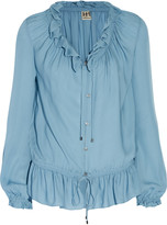 Haute Hippie Ruffled silk-crepe blouse