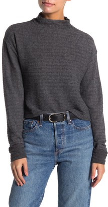 Lush Long Sleeve Ribbed Brushed Mock Neck Sweater