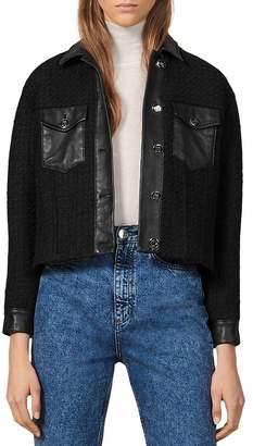 Sandro Enoy Leather-Trimmed Tweed Jacket