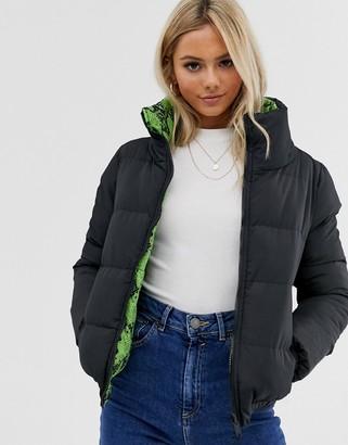 Brave Soul winnie reversible neon snake print puffer jacket-Green