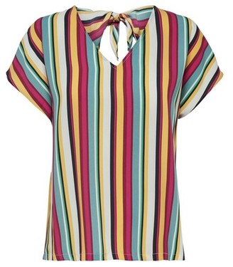Dorothy Perkins Womens Only Multi Colour Short Sleeve Stripe Print Tie Top, Multi Colour