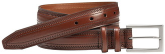 Johnston & Murphy Pinked Cog Braided Trim Leather Belt