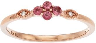 Lauren Conrad 10k Rose Gold Tourmaline & Diamond Accent Flower Ring