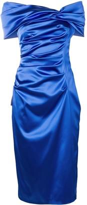 Talbot Runhof Ruched Satin Dress