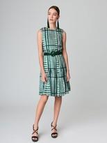 Oscar de la Renta Pleated Glen Plaid Silk-Twill Dress