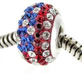 Queenberry .925 Sterling Silver Blue Red White Round Crystal USA American Flag Bead For European Chamilia Biagi Troll Pandora Charm Bracelets