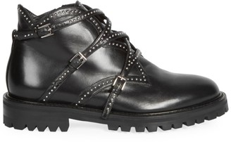 Alaia Studded Leather Ankle Boots