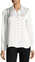 Laundry by Shelli Segal Satin Long-Sleeve Button-Up Blouse, White