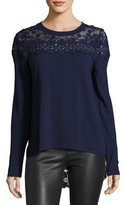 Elie Tahari Leena Lace-Back Merino Sweater, Navy