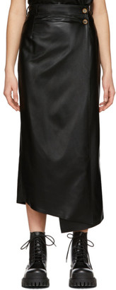 Áeron Black Faux-Leather Lucilla Wrap Skirt