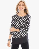Chico's Grid Crushed-Fabric Top
