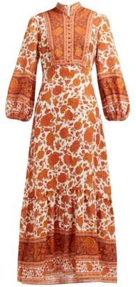 Zimmermann Amari Floral-print Linen Maxi Dress - Womens - Orange
