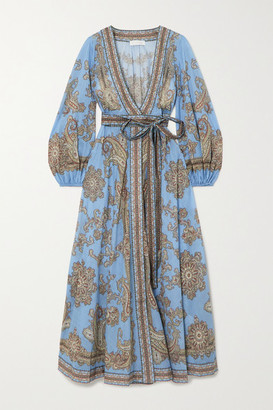 Zimmermann Fiesta Belted Paisley-print Linen Wrap Maxi Dress - Blue