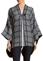 Calvin Klein Check Pattern Front Close Shawl