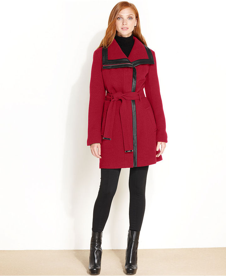 Calvin Klein Coat, Faux-Leather-Trim Belted