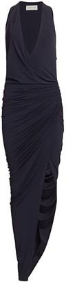 Alexandre Vauthier Deep V-Neck Slit Ruched Gown