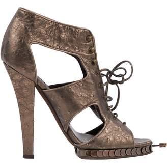 Roberto Cavalli Grey Leather Heels