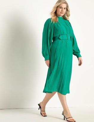 ELOQUII Plisse Dress With Belt