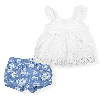 Arizona Girls' Casual Dresses WHITE - White Eyelet Angel-Sleeve Top & Blue Floral Denim Shorts - Infant