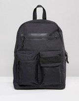 Asos Backpack In Black With Front Pockets