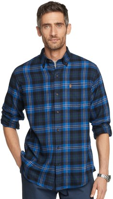 Izod Men's Plaid Flannel Button-Down Shirt