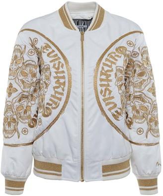 Evisu Padded Bomber Jacket With Hannya Skull Gold Embroidery