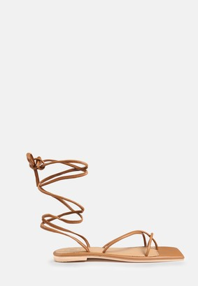 Missguided Tan Lace Up Flat Sandals