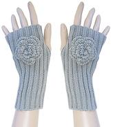 Gray Rosette Fingerless Gloves