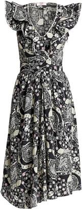 Etoile Isabel Marant Coraline Printed Ruffle Midi Dress