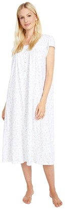 Eileen West 100% Cotton Cap Sleeve Ballet Nightgown (Botanical Print) Women's Pajama