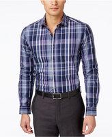 Alfani Men's Big and Tall Slim Locker Plaid Long-Sleeve Shirt, Only at Macy's