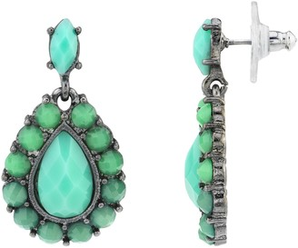 1928 Black-Tone Turquoise Color Pearshape Faceted Drop Earrings