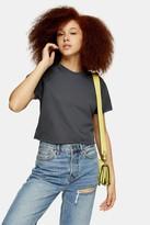 Topshop Womens Charcoal Grey Raglan Crop T-Shirt - Charcoal