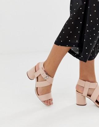 Qupid mid block heeled sandals-Beige