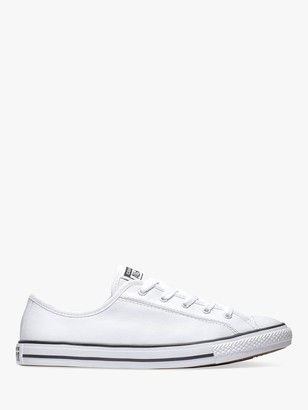 Converse Chuck Taylor All Star Dainty Leather Trainers, White/Black