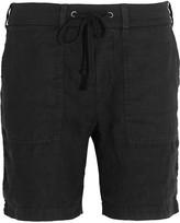 James Perse Cotton jersey-trimmed linen shorts