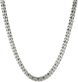 Anne Klein Classics Silver Tone 16 Inch Tubular Crystal Necklace of 43cm