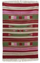 Red and Pink Handwoven Dhurrie Rug with Green Accents, 'Rose Energy'